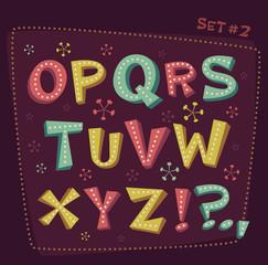 Retro type font. Fifties style alphabet.