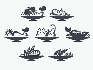 vector collection of different meat, BBQ and other food signs