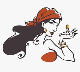 vector image of gypsy, attractive woman
