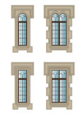 Gothic windows set
