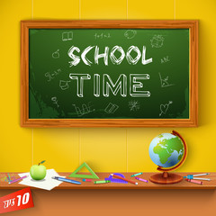 Green chalkboard. School Time.