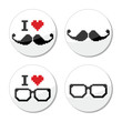 I love glasses and mustache / moustache icons set