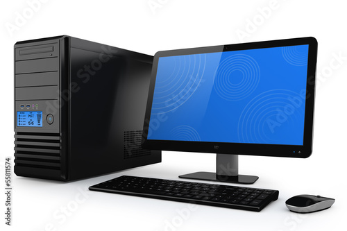 Modern, power home desktop computer. PC system