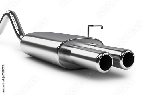 Car exhaust silencer. Polishing muffler