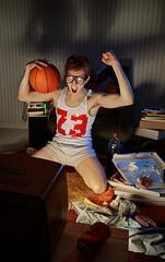 Basketball Fan Watching Television