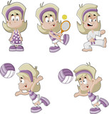 Cute artoon blonde girl playing tennis, volleyball, karate.