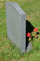 Gravestone with flowers