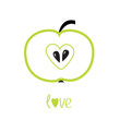 Green  apple with heart shape. Love vector card.