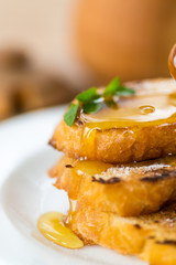 fried bread croutons with honey