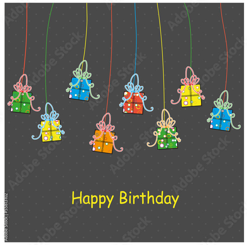 Birthday card with presents, vector