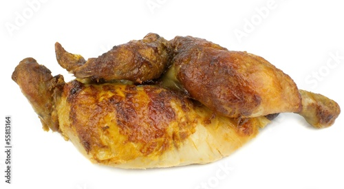 Half a grilled chicken on a white background