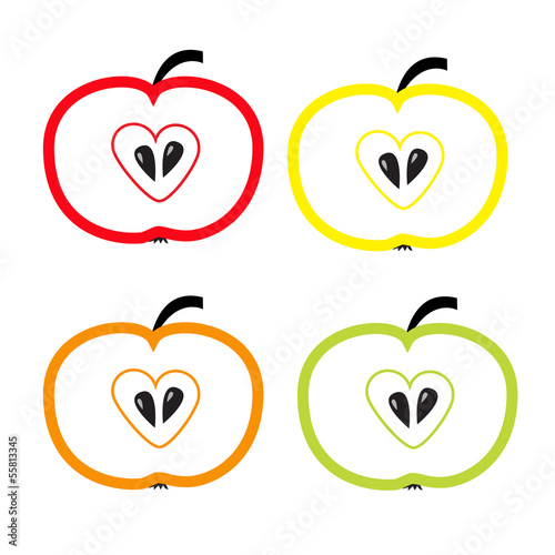 Set of color apples with heart shape. Isolate.