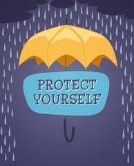 Yellow umbrella. Retro styled vector poster.