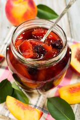 Peach jam with fresh fruits