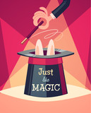 Just a magic trick. Retro styled vector poster.