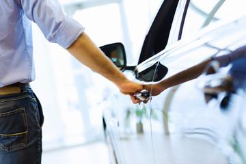 Man opening car