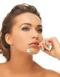 woman diamond pendant in mouth