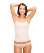 beautiful woman in beige cotton underwear