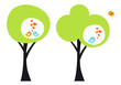 green tree with love birds, vector