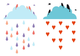 rain and clouds in the sky with birds, vector