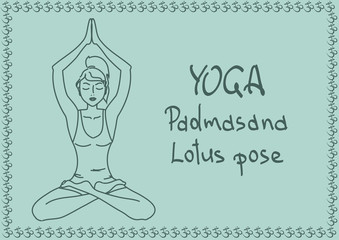 Outline girl in Lotus yoga pose