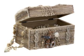 Holzkiste mit Küsten-Dekoration