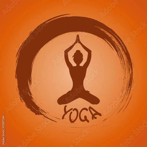 Yoga label with Zen symbol and Lotus pose