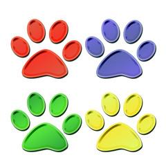 set colorful 3d pet paw prints