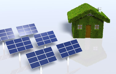 Grassy house with some solar panels