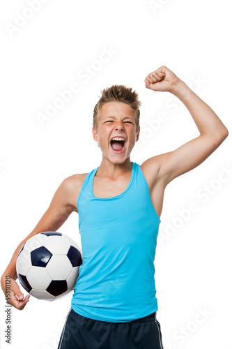 Teen soccer player with winning attitude. - 55818120