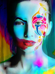 color face art woman face extra bright