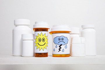 Happy and Sad Pill Bottles