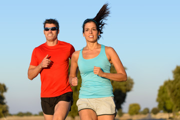 Sport couple running