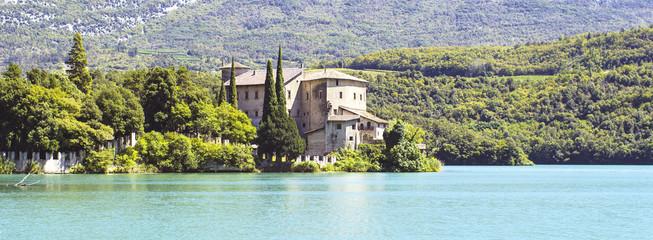 Toblino Castle panorama color image
