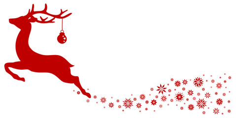 Reindeer With Christmas Ball Stars Red