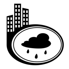 Rain cloud - vector icon isolated. City pointer
