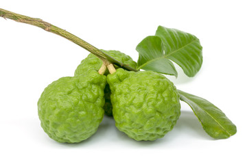 Kaffir Lime with leaves isolated on white background