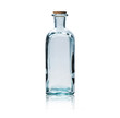 Empty glass bottle with cork stopper isolated on white.