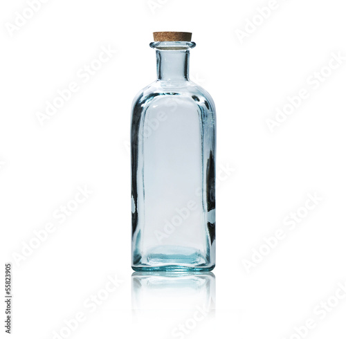 canvas print picture Empty glass bottle with cork stopper isolated on white.