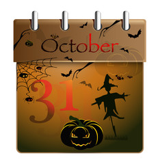 Halloween calendar with pumpkin