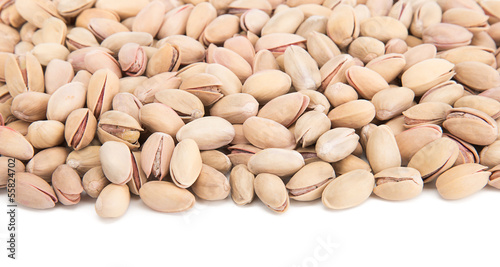 Pistachio with space for your text over white background