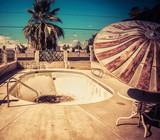 Derelict motel simming pool South west USA