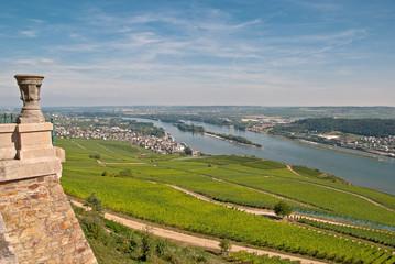 Blick vom Niederwalddenkmal bei Rüdesheim auf das Rheintal
