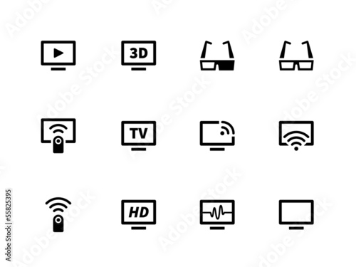 TV icons on white background. Vector illustration.