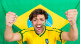 Successful Sportsman Shouting Against Brazilian Flag