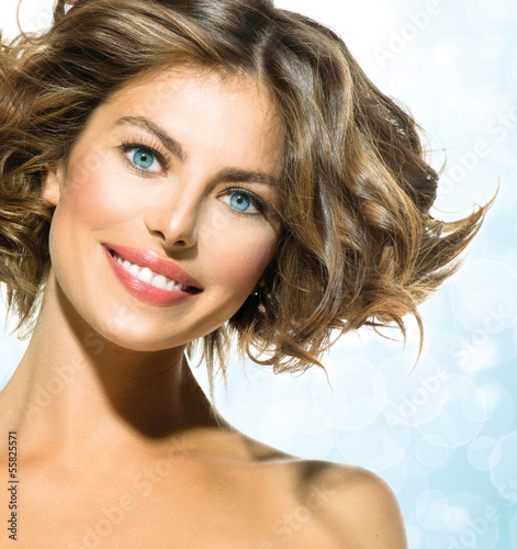 Beauty Young Woman with Short Curly Hair