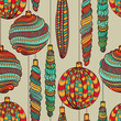 Seamless Christmas vintage pattern with decorative balls