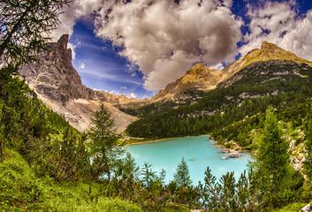 Alpin lake Sorapis - Italian Dolomites stunning landscape