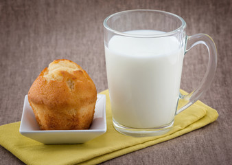 Glass of milk and muffin