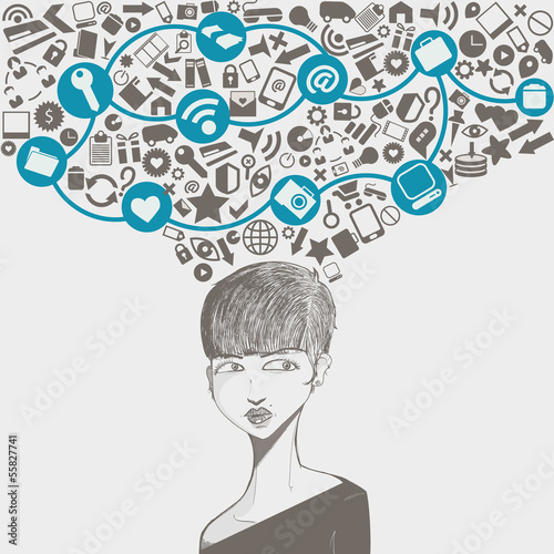 social network head with several icons